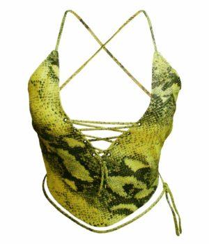 Top femme cuir python vert Beauty