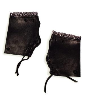 Mitaines femme cuir noir exclusives La Louve
