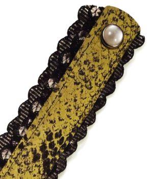 Collier femme cuir python dentelle