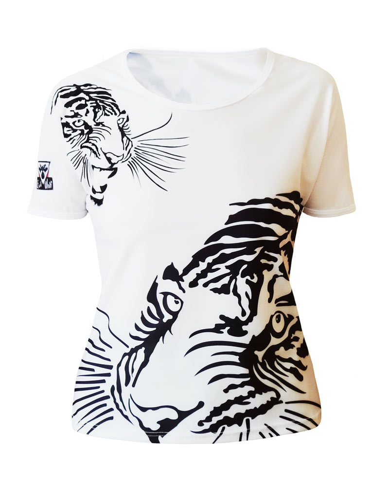 T shirt Femme Tigre col rond all over