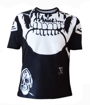 T-shirt homme col rond all over skull music