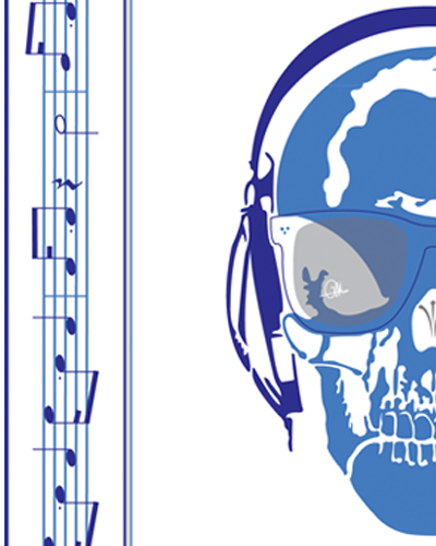 Collection Carré Skull Music Note G