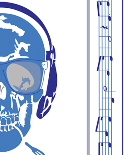 Collection Carré Skull Music Note D