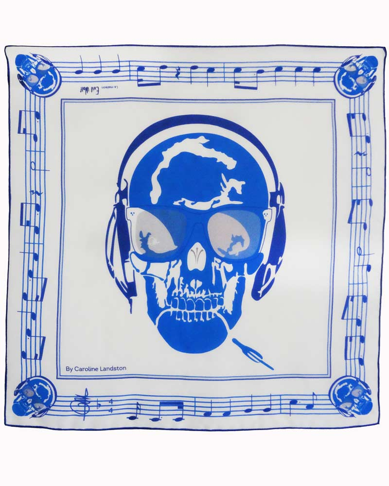 Carré Skull Music - Scarf by Charles Landston