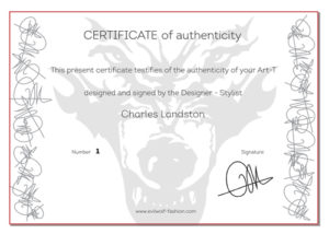 Certificate of authenticity by Charles Landston Evil Wolf