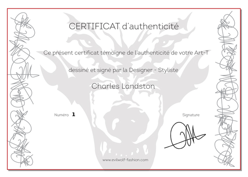 Certificat d'authenticité Charles Landston Art-T