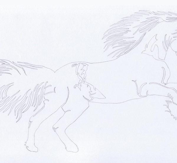 Comment réaliser un dessin au trait en noir et blanc By Charles Landston Evil Wolf - Cheval