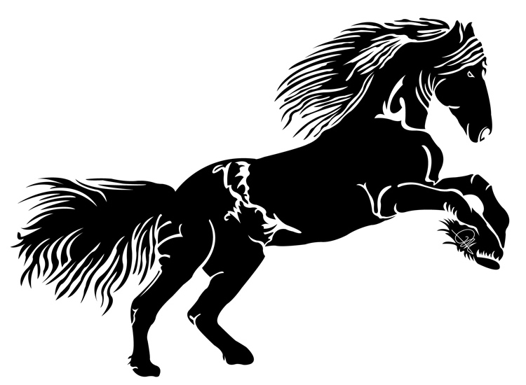 Dessin Vectoriel de cheval, positif sur Illustrator By Charles Landston