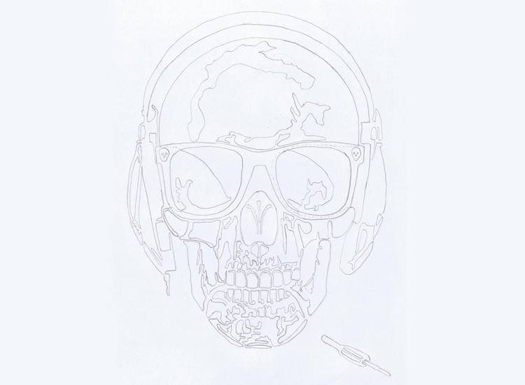 How to do a line drawing in black and white ? By Charles Landston Evil Wolf The Skull Music