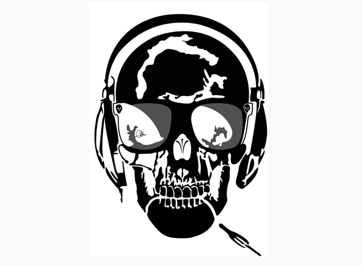 Drawings in black and white by Charles Landston of Evil Wolf Skull Music