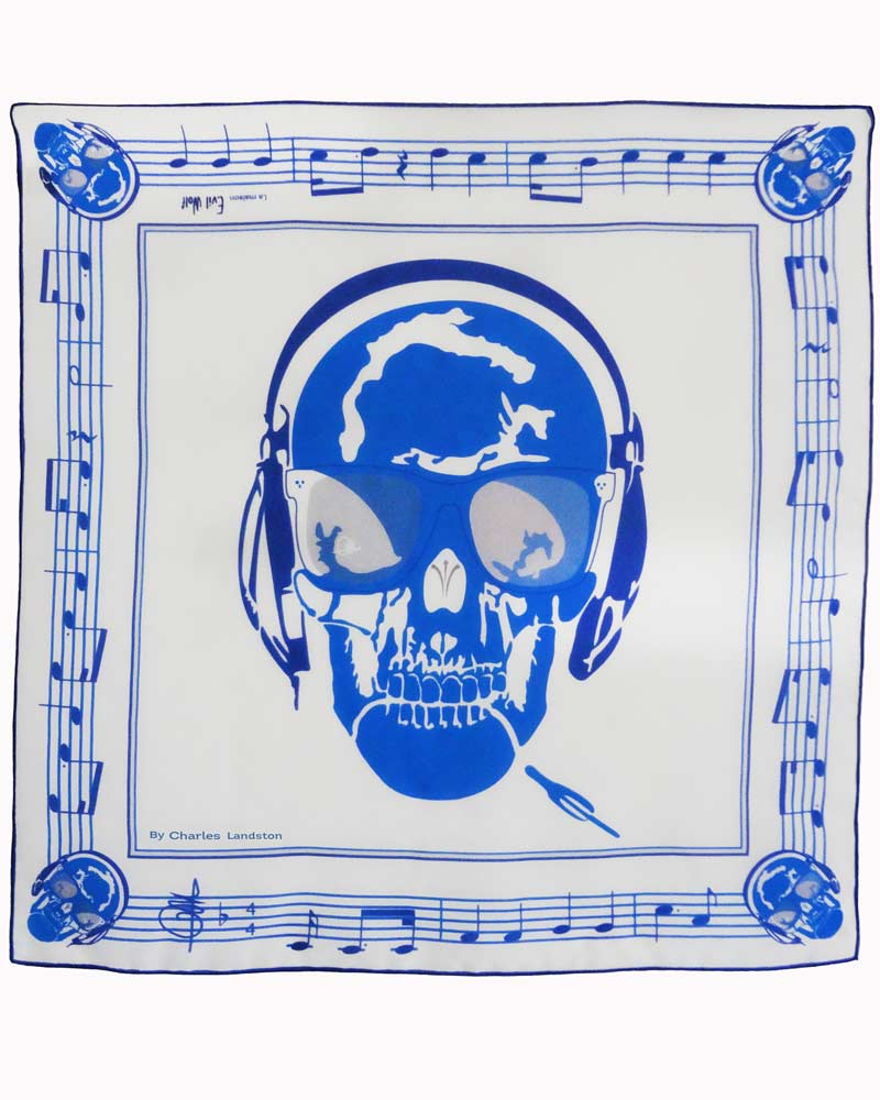 Carré de soie Skull Music by Charles Landston