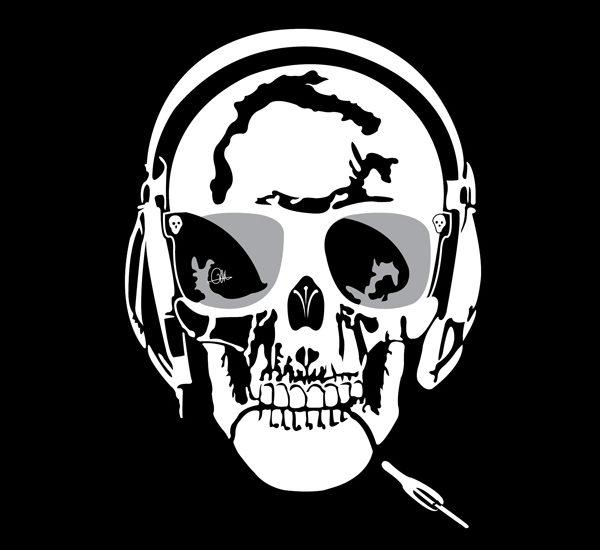 Dessin Vectoriel de Skull Music, négatif sur Illustrator By Charles Landston