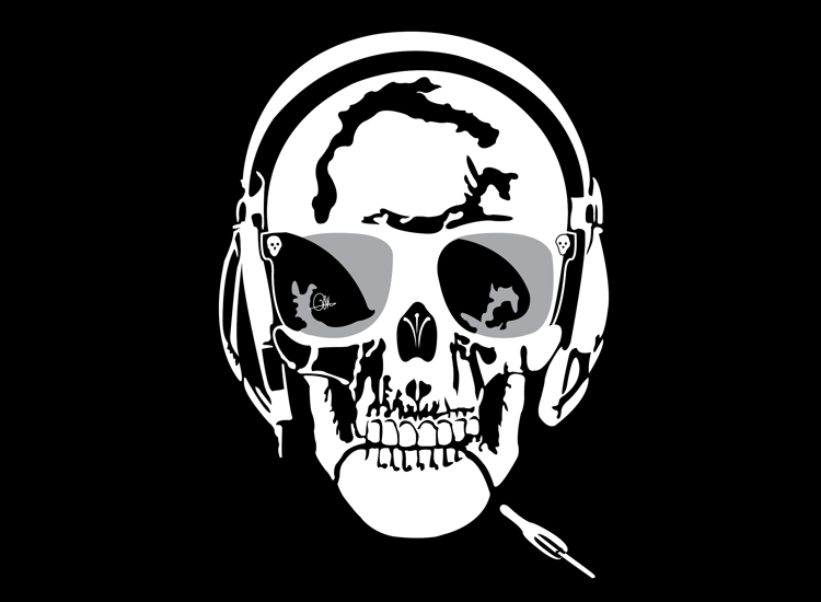 Dessin Vectoriel de Skull Music, négatif sur Illustrator By Charles Landston