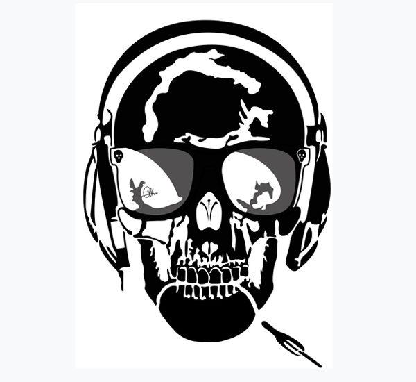 Dessin Vectoriel de Skull Music, positif sur Illustrator By Charles Landston