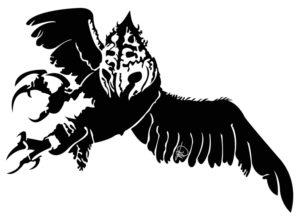 Dessin en noir et blanc de l'aigle de Charles Landston