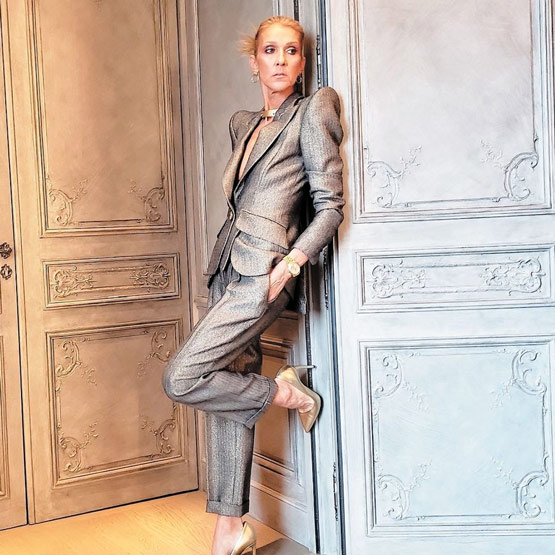 Céline Dion is full of sight. Céline Dion in a Pantsuit