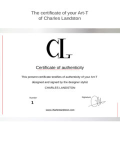 Certificate of authenticiticy of Art-T of Charles Landston