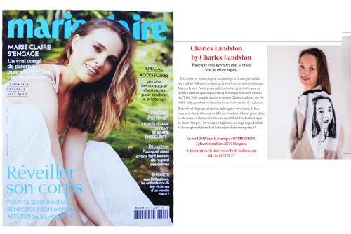 Marie Claire magazine Parution en avril 2019 dans Marie claire magazine