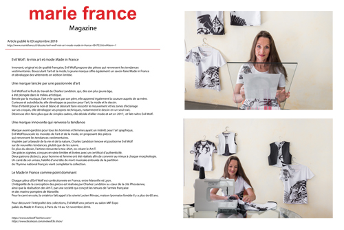 MARIE FRANCE Mise en ligne le 03 09 2018 sur le site mariefrance.fr dans « Les Incontournables »