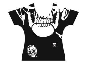 Patron de devant du T-shirt Homme Tête de mort | Fabriqué en France | T-shirt microfibre de haute qualité de luxe