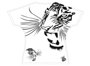 Une coupe ajustée et différente pour les femmes et les hommes - Art-T t-shirt tigre femme Devant by Charles Landston