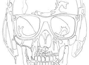Dessin de la tête de mort au trait de crayon La tête de mort by Charles Landston