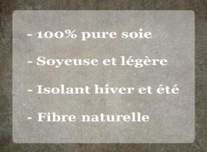 Une matière idéale pour toutes les saisons - 100% pure soie, soyeuse et légère, isolant hiver et été et fivre naturelle. Fabriqué à Lyon