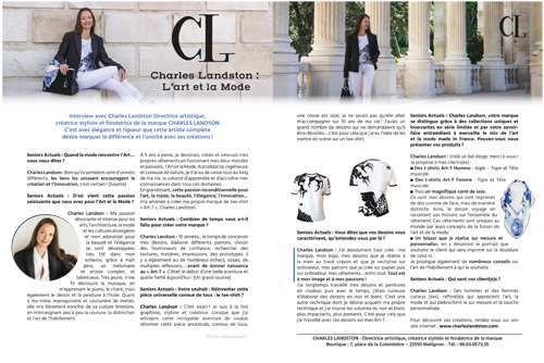 Press CHARLES LANDSTON - Fashion and Art Actualities, interview, info