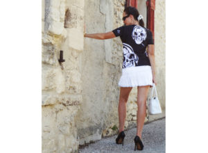 T-shirt Art-T femme tête de mort Skull Dj by Charles Landston