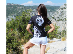 Skull T-shirt for woman by Charles Landston. Charles Landston wears her skull t-shirt