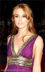 Morphologie en H et I : le dressing idéal - Keira Knightleyest porte une robe empire violette avec une large ceinture en sequin sous la poitrine