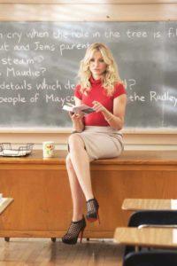 Morphologie en V - Cameron Diaz porte une jupe crayon beige avec un top rouge à petites manches. Puis de chaussures noires à talons aiguilles