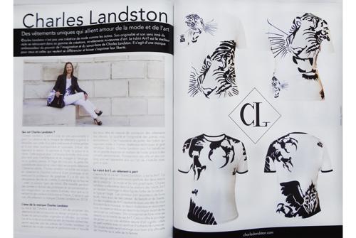 Presse - Maison & Jardin N°53_Reportage sur 4 pages sur Charles Landston et sa marque. Charles landston est sur la première de couverture avec comme slogan : L'alliance de l'amour, de la mode et de l'art.